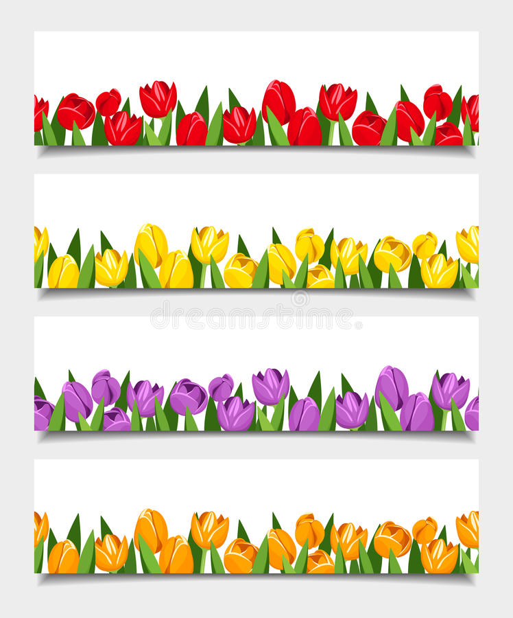 Bandeiras do vetor com flores da tulipa ilustração royalty free