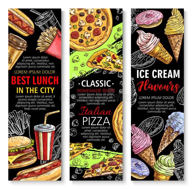 Bandeiras do vetor para o restaurante do fast food ilustração stock