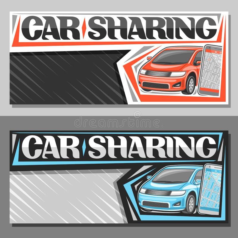 Bandeiras do vetor para a partilha de carro ilustração royalty free