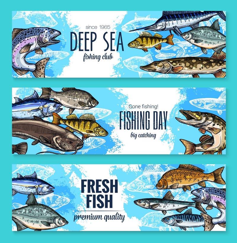 Bandeiras do vetor para a pesca ou a vida marinha dos peixes ilustração royalty free