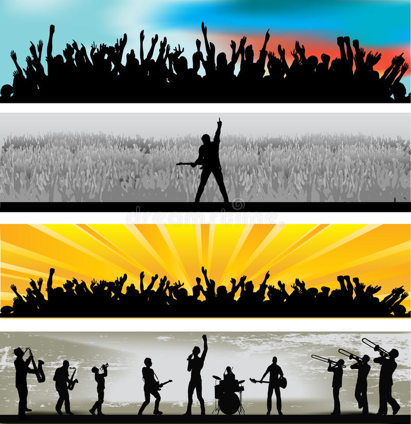 Bandeiras do Web da música ilustração royalty free