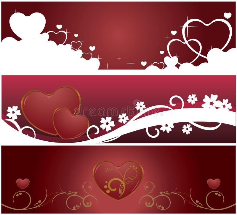 Bandeiras do Web do Valentim ilustração do vetor