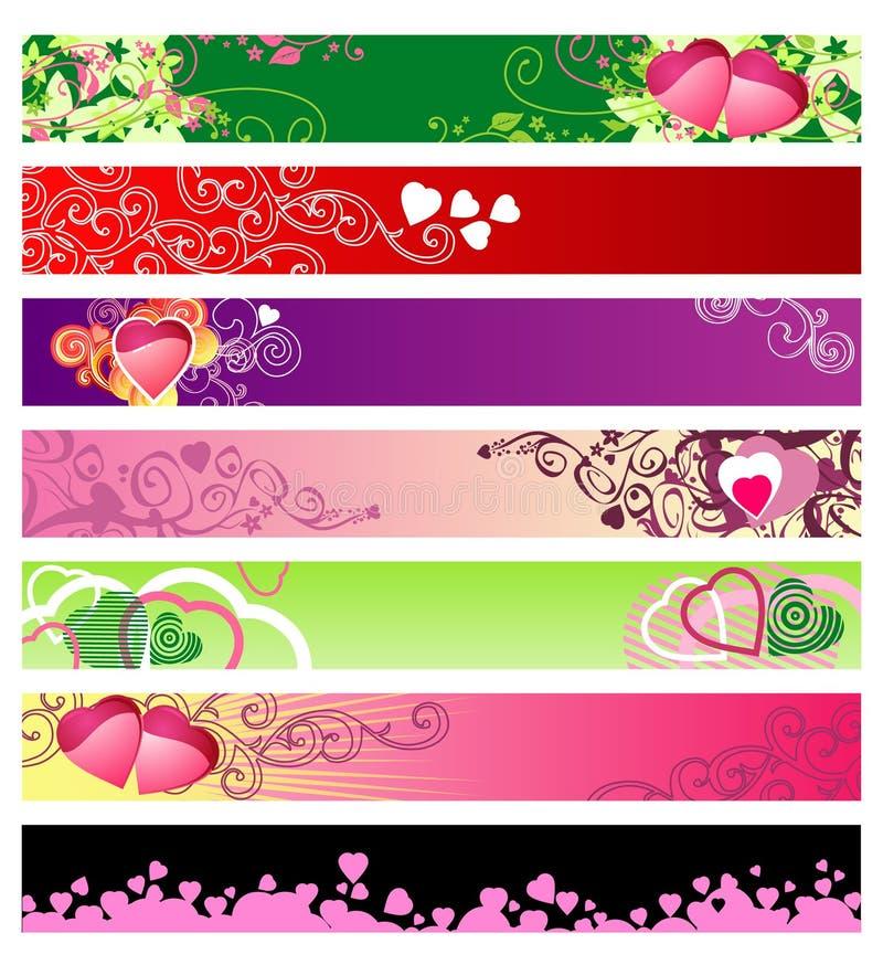 Bandeiras do Web site do amor & dos corações/vetor/#1 ajustado ilustração stock