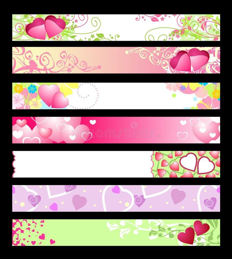Bandeiras do Web site do amor & dos corações/vetor/#2 ajustado ilustração stock