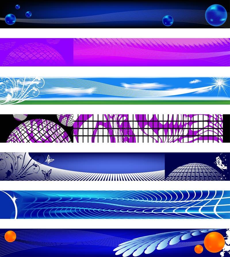 Bandeiras do Web site. tamanhos 730x90. ilustração royalty free