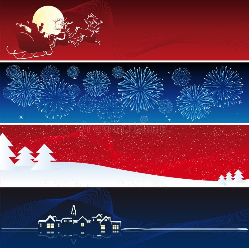 Bandeiras do xmas do vetor ilustração royalty free