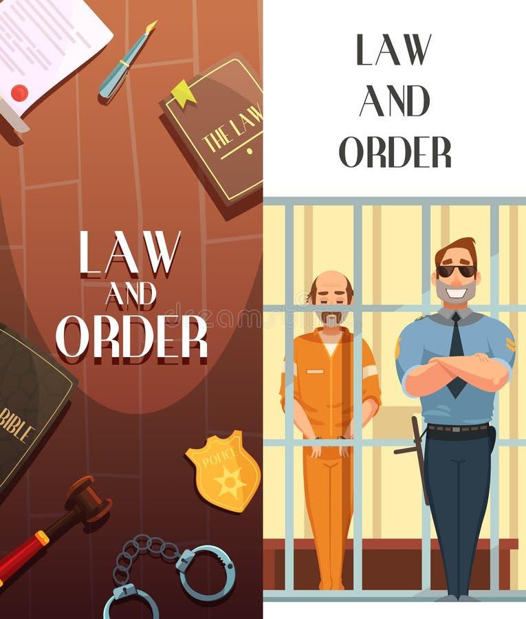 Bandeiras dos desenhos animados de justiça 2 da ordem da lei ilustração do vetor
