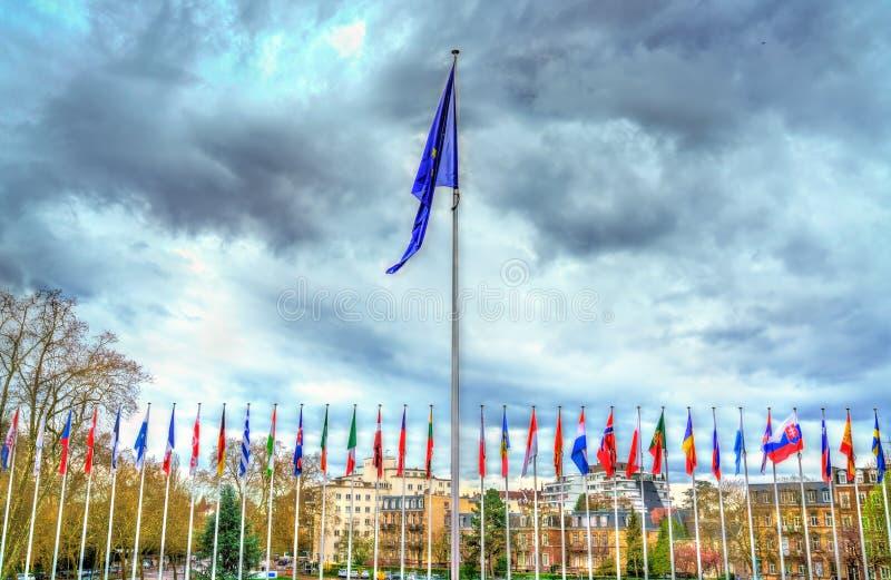 Bandeiras dos Estados-membros do Conselho da Europa em Strasbourg, França imagens de stock