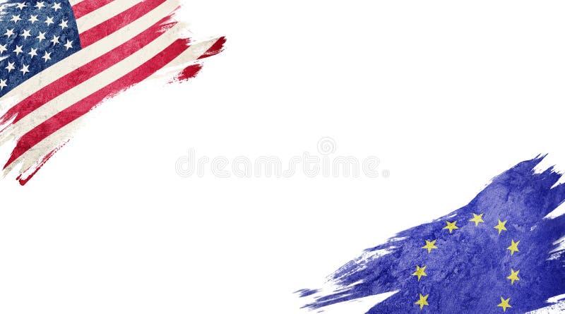 Bandeiras dos EUA e da UE no fundo branco ilustração royalty free