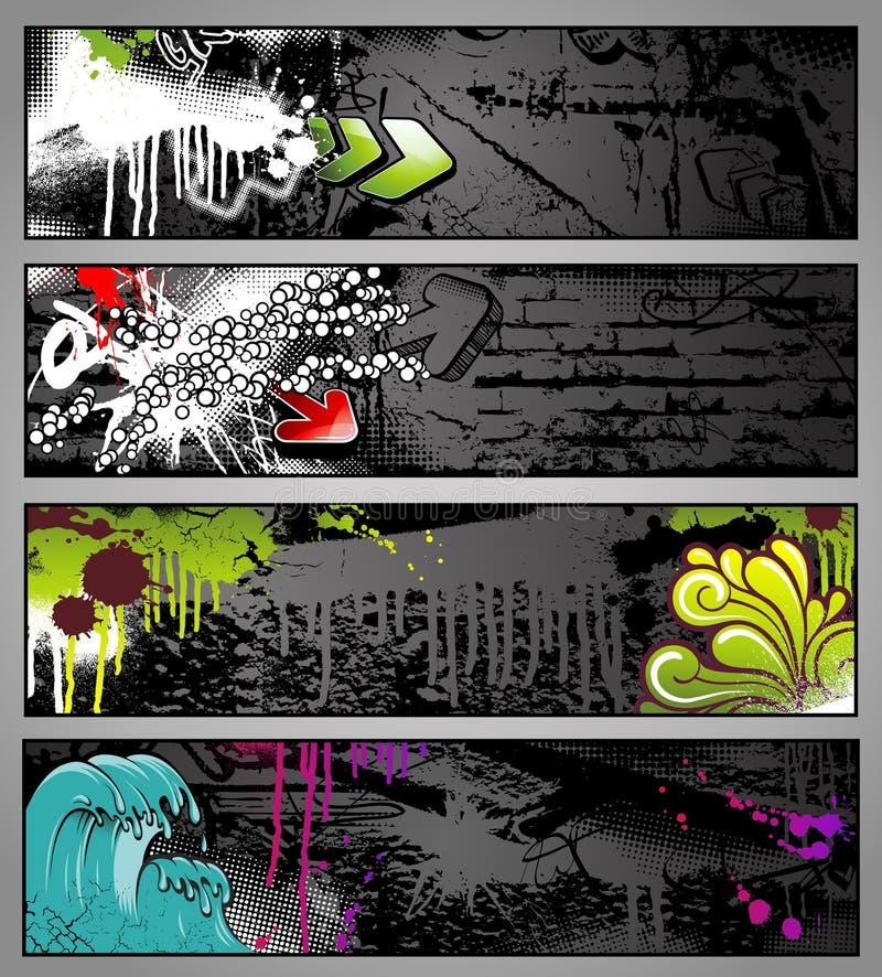 Bandeiras dos grafittis ilustração do vetor