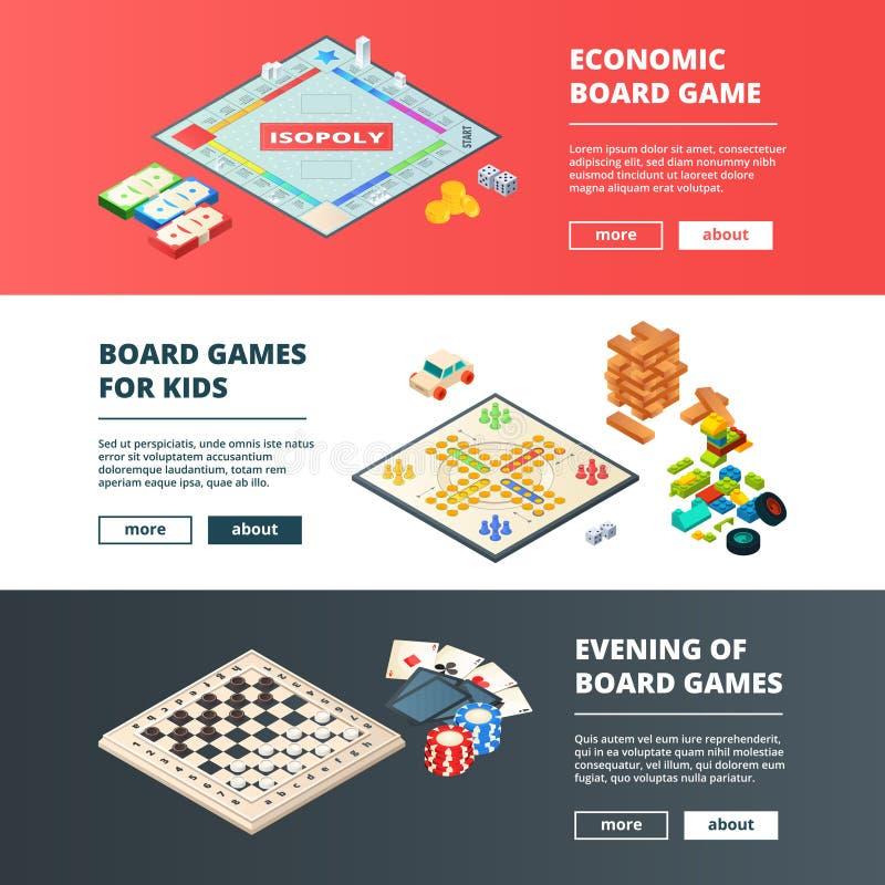 Bandeiras dos jogos de mesa Vector bandeiras horizontais com várias imagens do conceito dos jogos de mesa ilustração do vetor