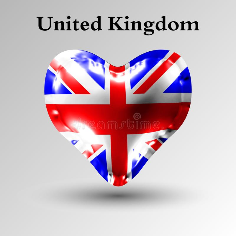 Bandeiras dos países de Europa A bandeira de Reino Unido em uma bola do ar sob a forma de um coração feito do material lustroso ilustração royalty free