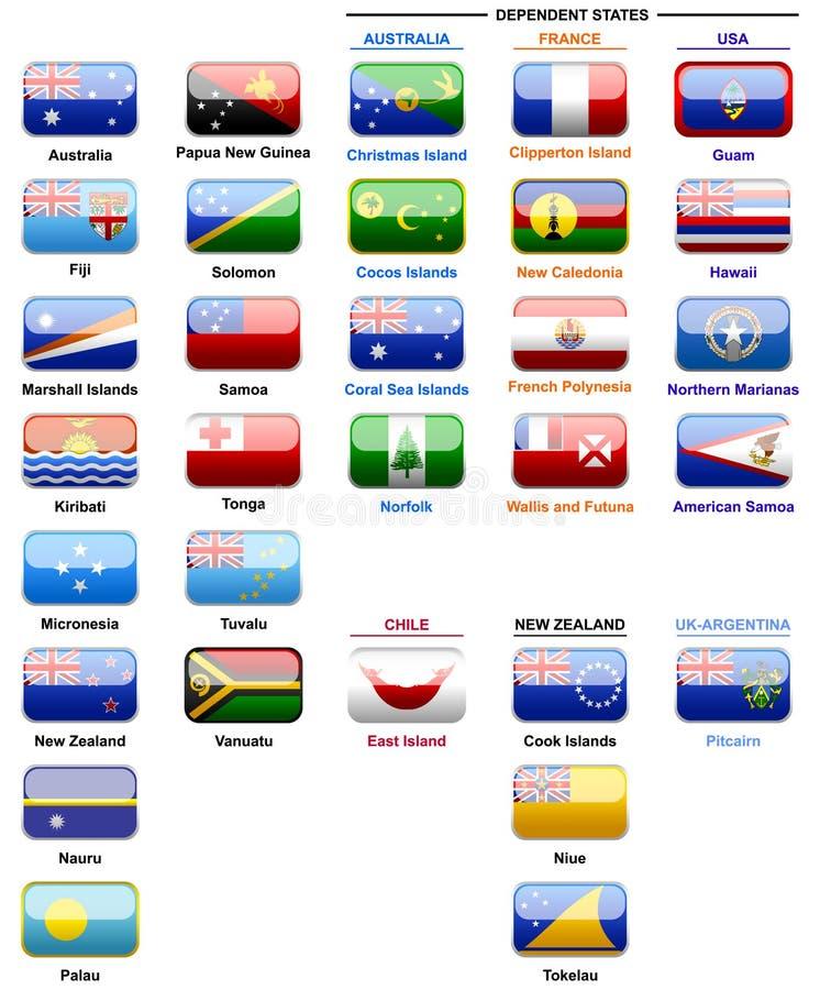 Bandeiras dos países em Oceania ilustração stock