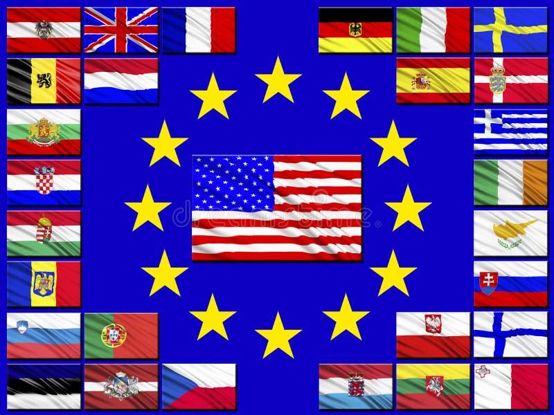 Bandeiras dos países que pertencem à União Europeia ilustração stock