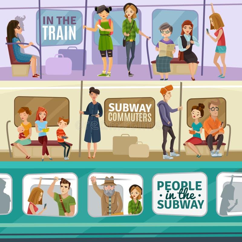 Bandeiras dos povos do metro ajustadas ilustração do vetor