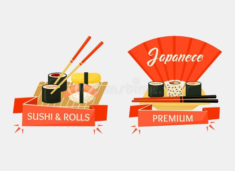 Bandeiras dos rolos de sushi de Nigirizushi e de temaki ilustração royalty free