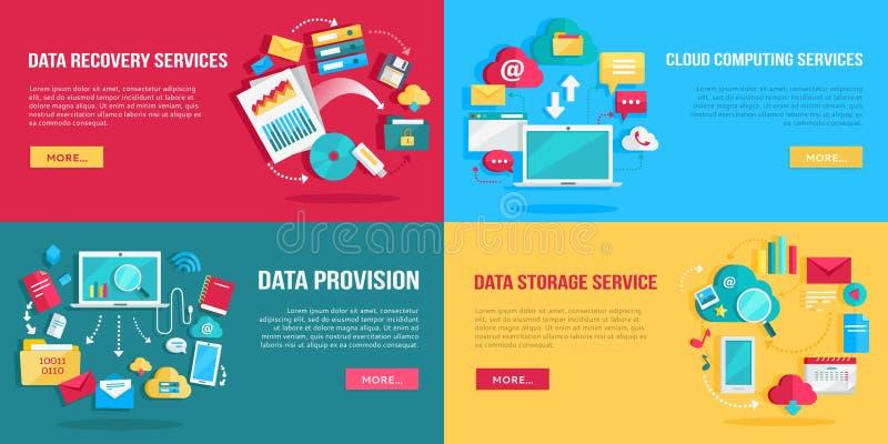 Bandeiras dos serviços de dados ajustadas ilustração do vetor