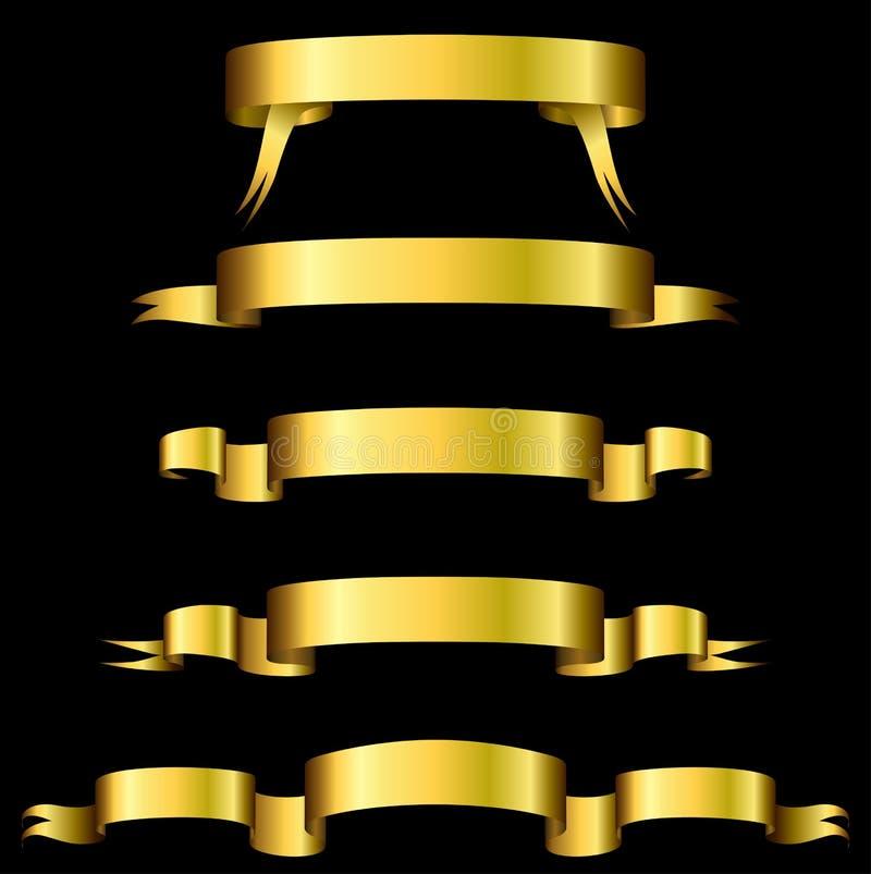 Bandeiras douradas ilustração stock