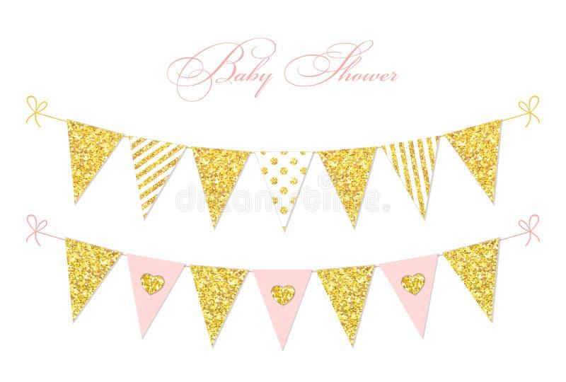 Bandeiras douradas da estamenha do brilho do vintage bonito do encanto para sua decoração ilustração royalty free