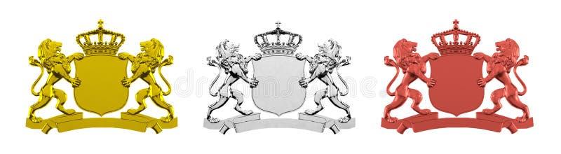 Bandeiras douradas, de prata, e de bronze do leão ilustração do vetor