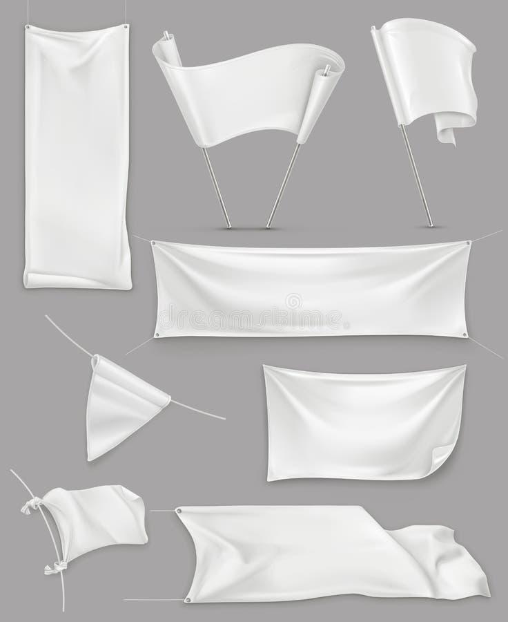 Bandeiras e bandeiras brancas ilustração do vetor