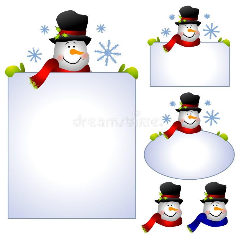Bandeiras e beiras da arte de grampo do boneco de neve ilustração stock