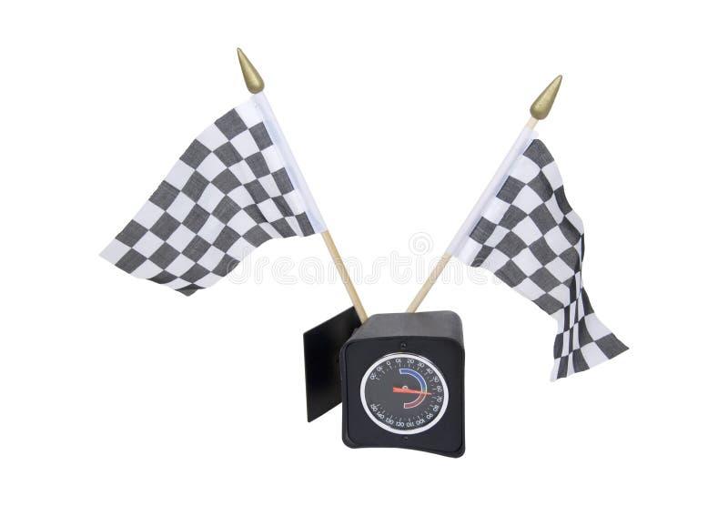 Bandeiras e calibre Checkered fotografia de stock