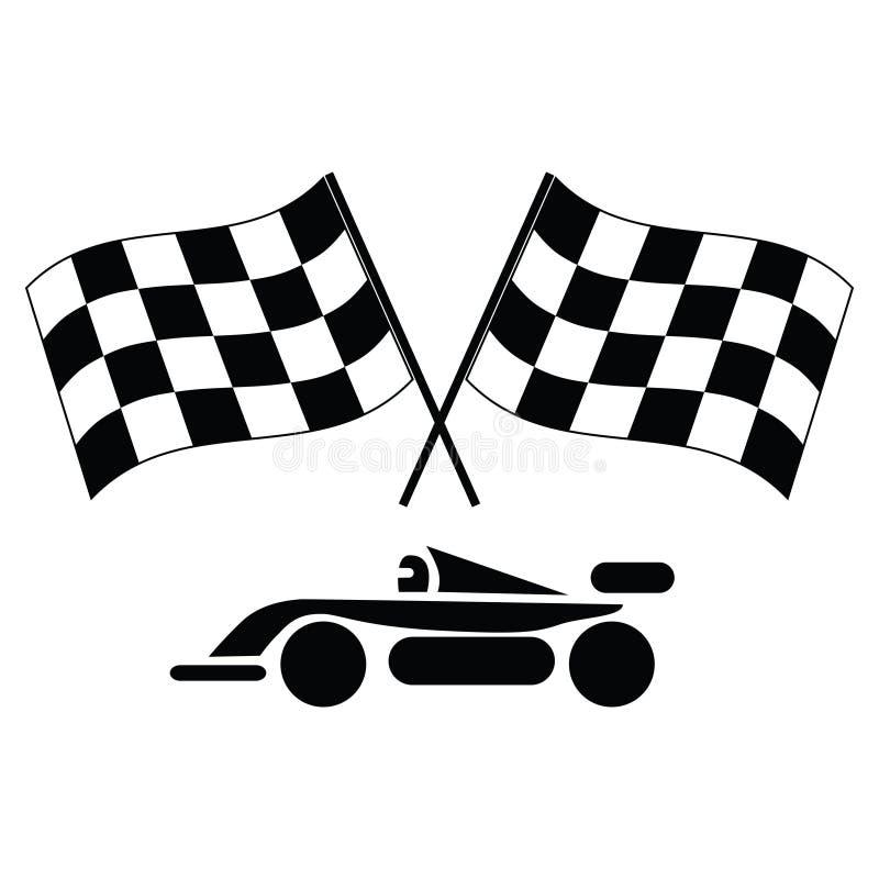 Bandeiras e carro Checkered ilustração royalty free