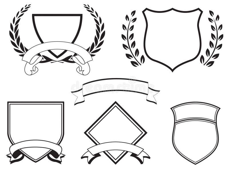 Bandeiras e cristas ilustração do vetor