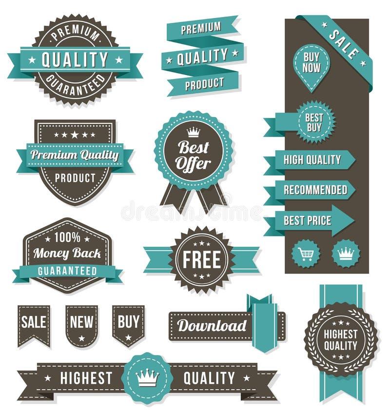 Bandeiras e elementos do design web do vetor ilustração royalty free