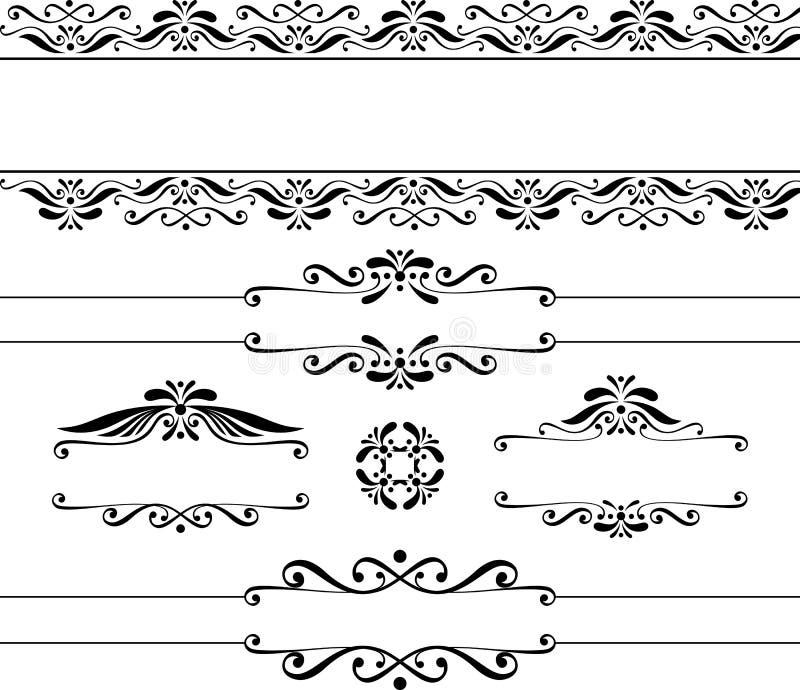 Bandeiras e elementos do projeto do vintage ilustração stock