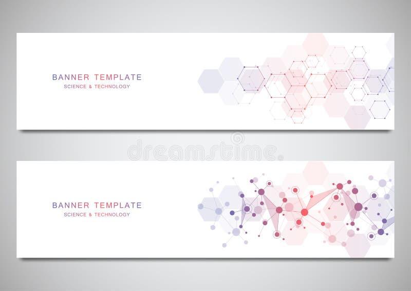 Bandeiras e encabeçamentos do vetor para o local com fundo das moléculas e rede neural Genética ou laboratório ilustração royalty free