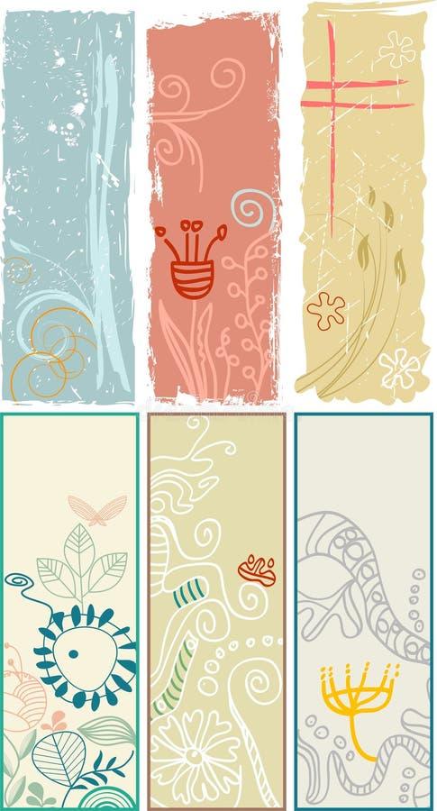 Bandeiras e endereços da Internet florais verticais ilustração stock