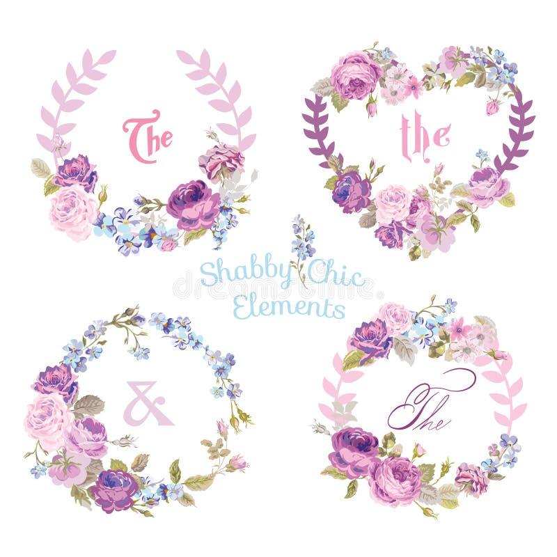 Bandeiras e etiquetas da flor ilustração stock