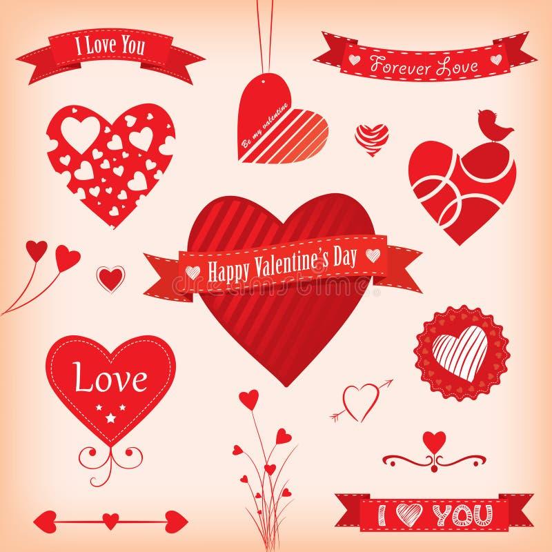 Bandeiras e etiquetas do amor ilustração stock