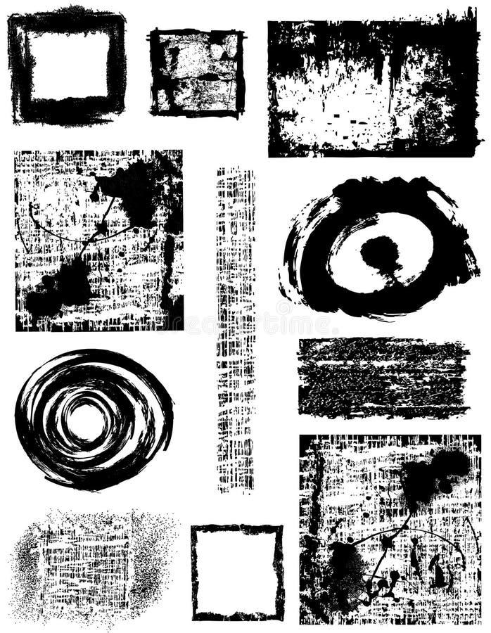 Bandeiras e frames de Grunge   ilustração do vetor