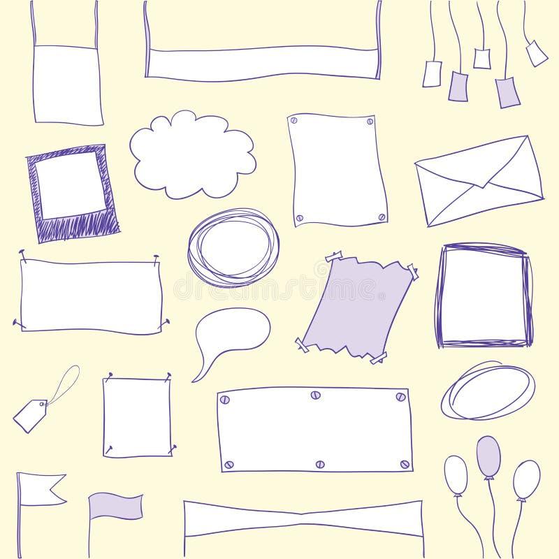 Bandeiras e frames do Doodle com espaço da cópia ilustração royalty free