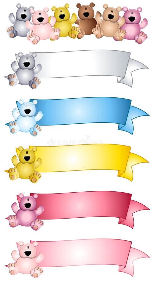 Bandeiras e logotipos do urso da peluche ilustração stock