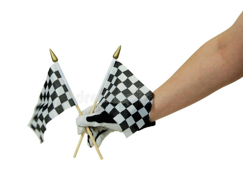 Bandeiras e luvas Checkered da competência imagens de stock royalty free