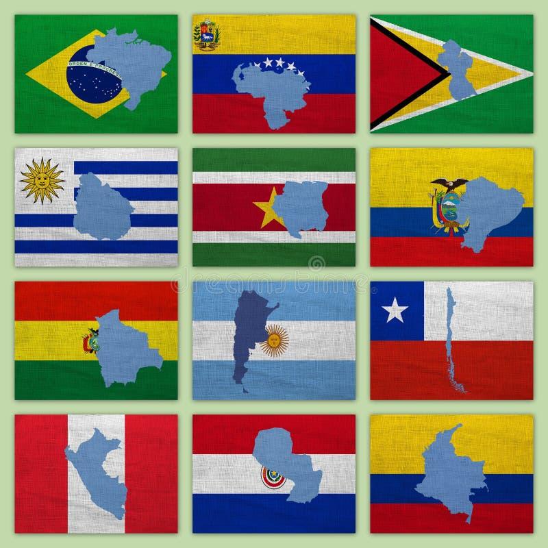 Bandeiras e mapas de países de Ámérica do Sul fotos de stock