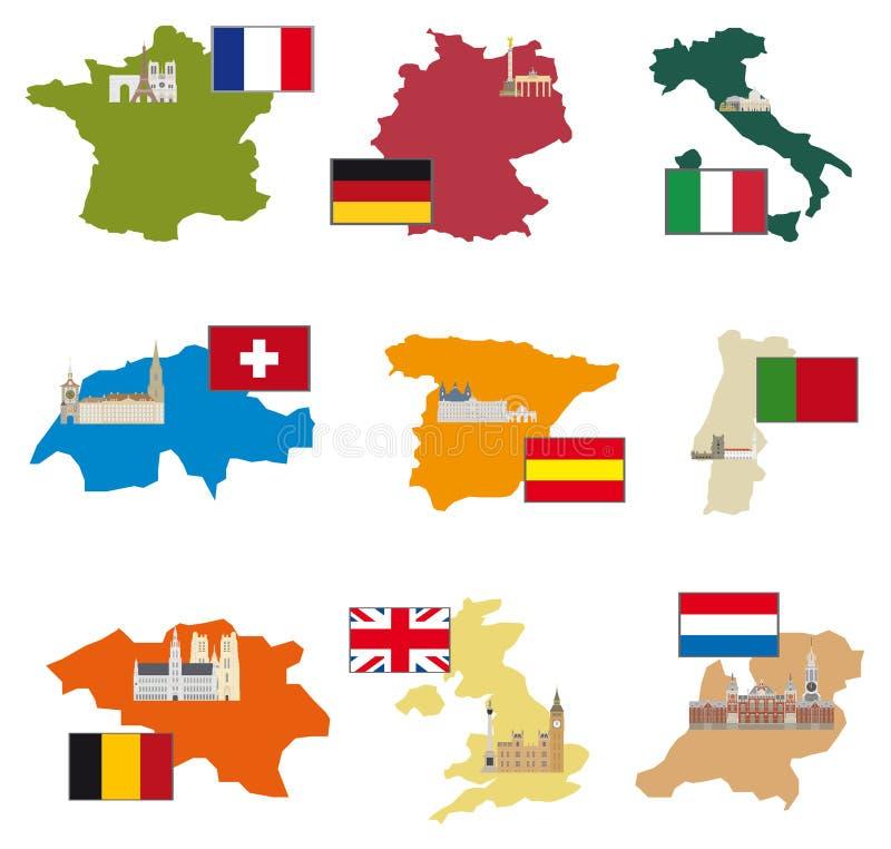 Bandeiras e países ilustração stock