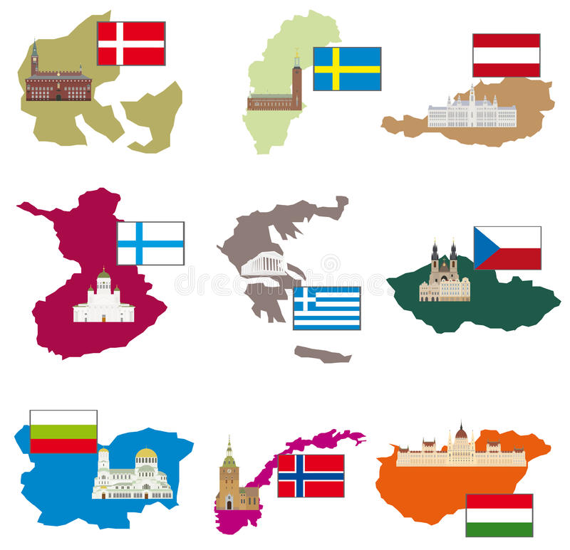 Bandeiras e países ilustração royalty free