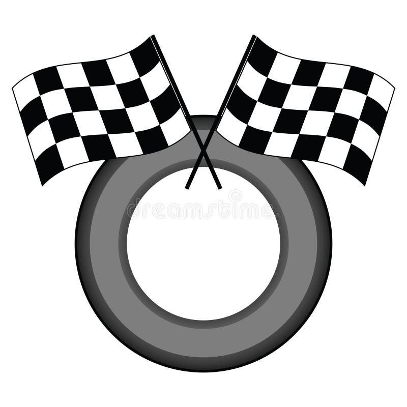 Bandeiras e pneu Checkered ilustração do vetor