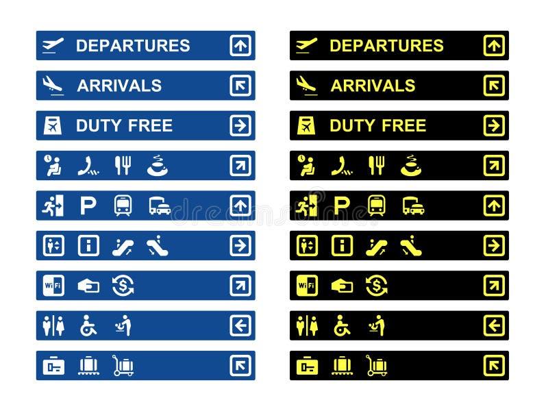 Bandeiras e símbolos do terminal de aeroporto ilustração stock
