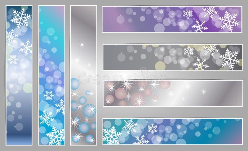 Bandeiras efervescentes do inverno com flocos de neve ilustração stock