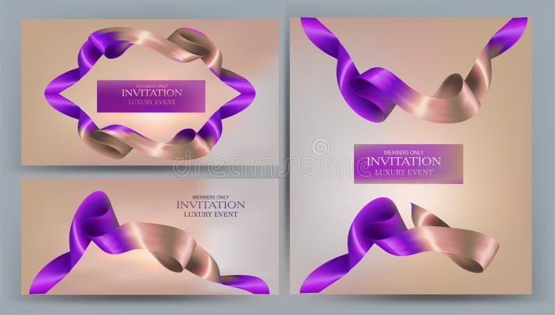 Bandeiras elegantes do convite com as duas fitas coloridas ilustração do vetor