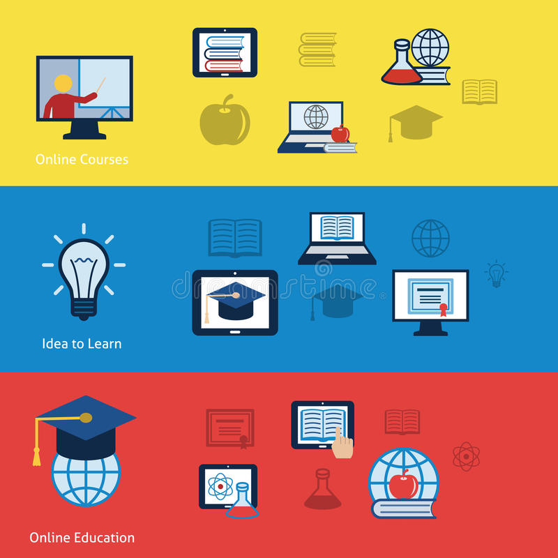 Bandeiras em linha da educação ilustração do vetor