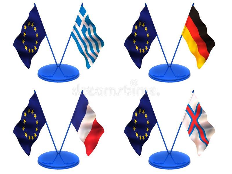 Bandeiras. Euro, Greece, Alemanha, France, Farrery ilustração royalty free