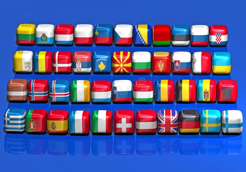 Bandeiras européias ilustração royalty free