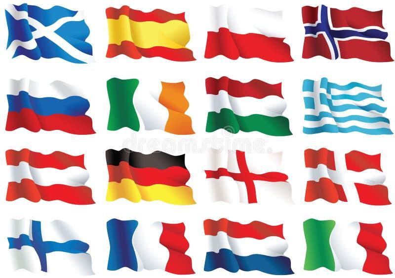 Bandeiras européias ilustração stock